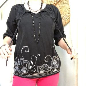Embroidered Black Art and Soul Tie Top Boho Blouse